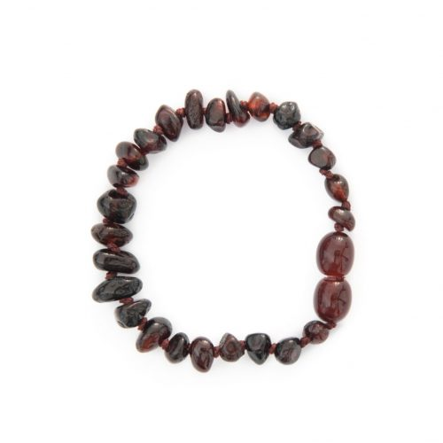 Teething amber bracelet for kids, dark cherry color of amber beads (14cm)