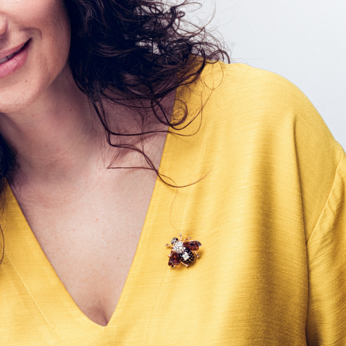 bee brooch with amber